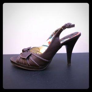 Brown Stitch Heels